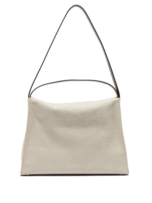 Aesther Ekme - New Duffle Linen And Leather Shoulder Bag - Womens - White
