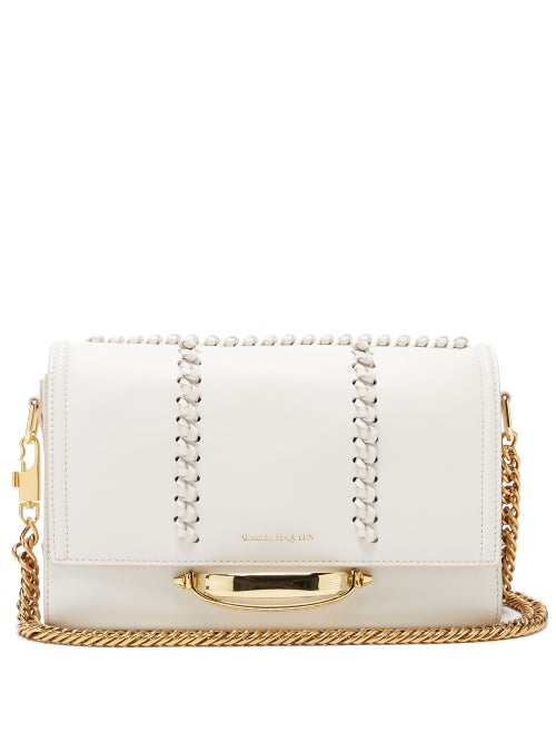 Alexander Mcqueen - The Story Whipstitched Leather Shoulder Bag - Womens - White