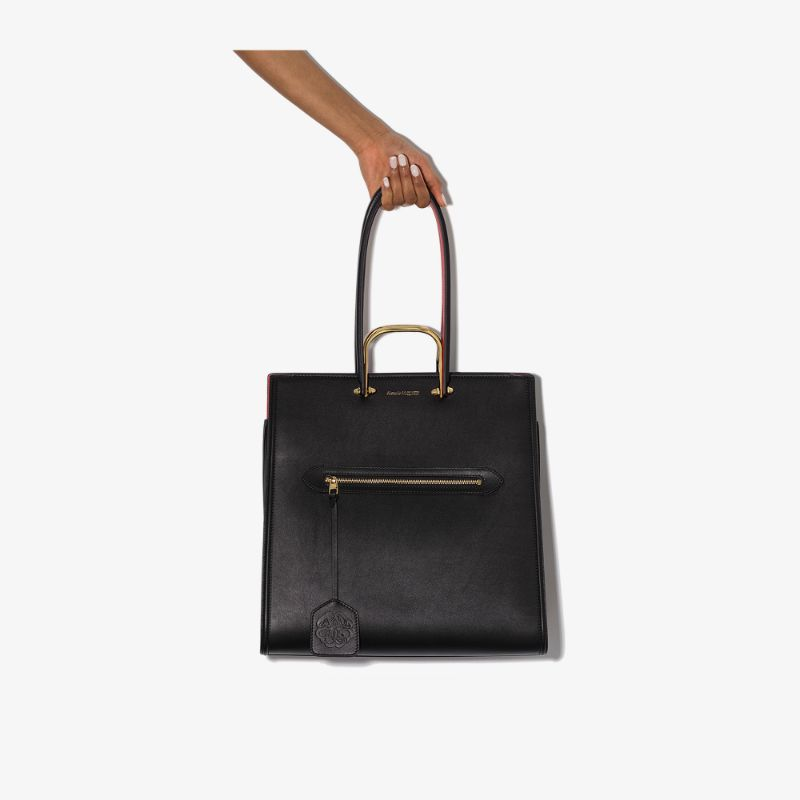 Alexander Mcqueen Womens Black The Tall Story Leather Shoulder Bag