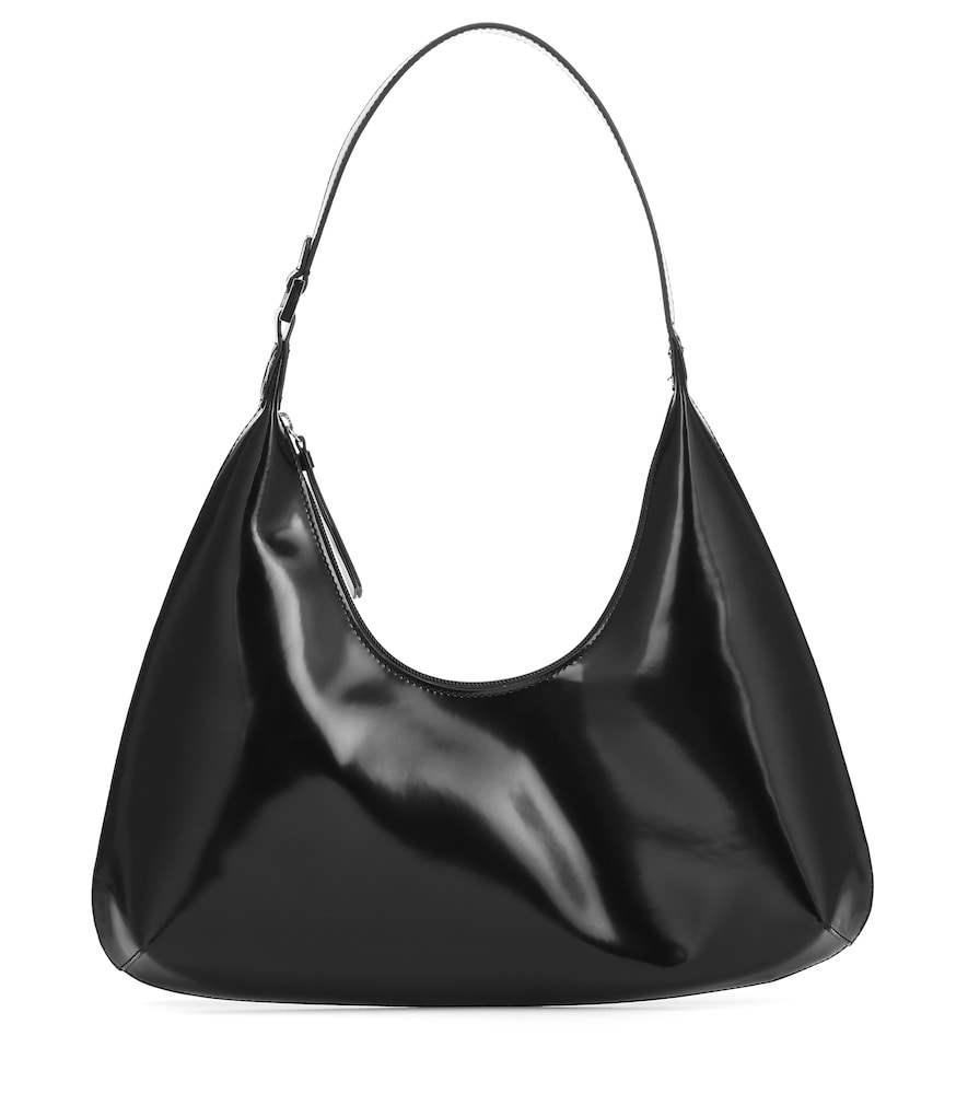 Amber patent leather shoulder bag