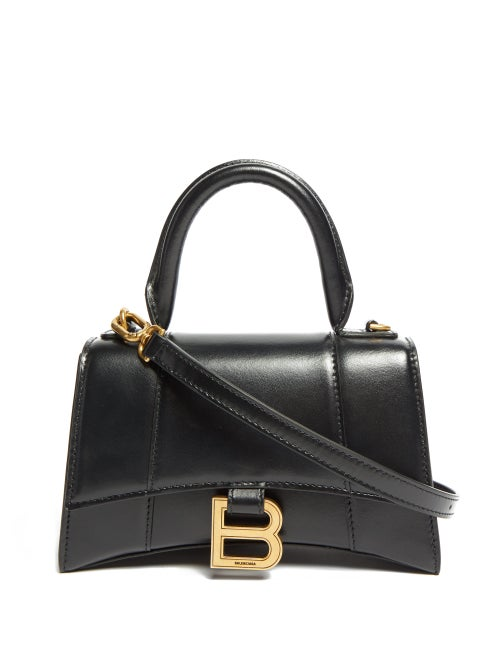 Balenciaga - Hourglass Xs Leather Shoulder Bag - Womens - Black