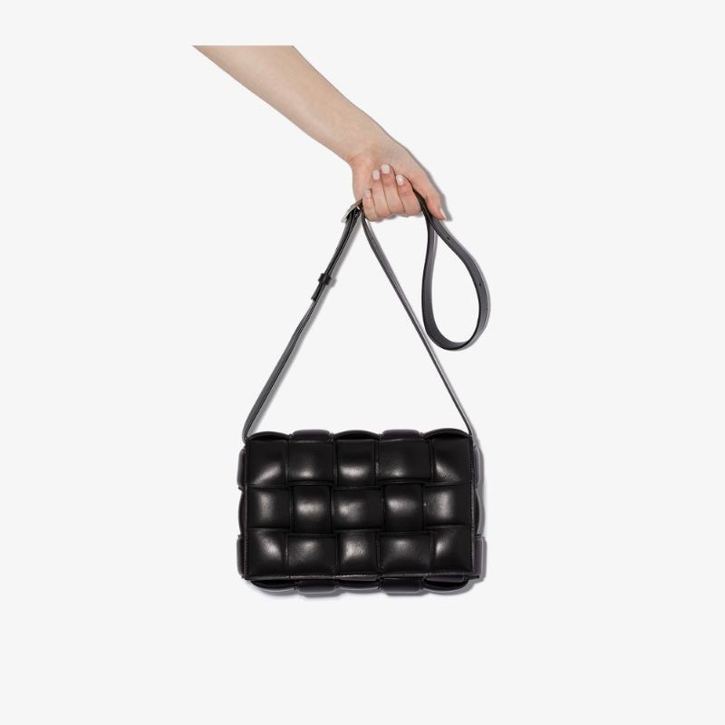 Bottega Veneta Womens Black Padded Cassette Leather Shoulder Bag