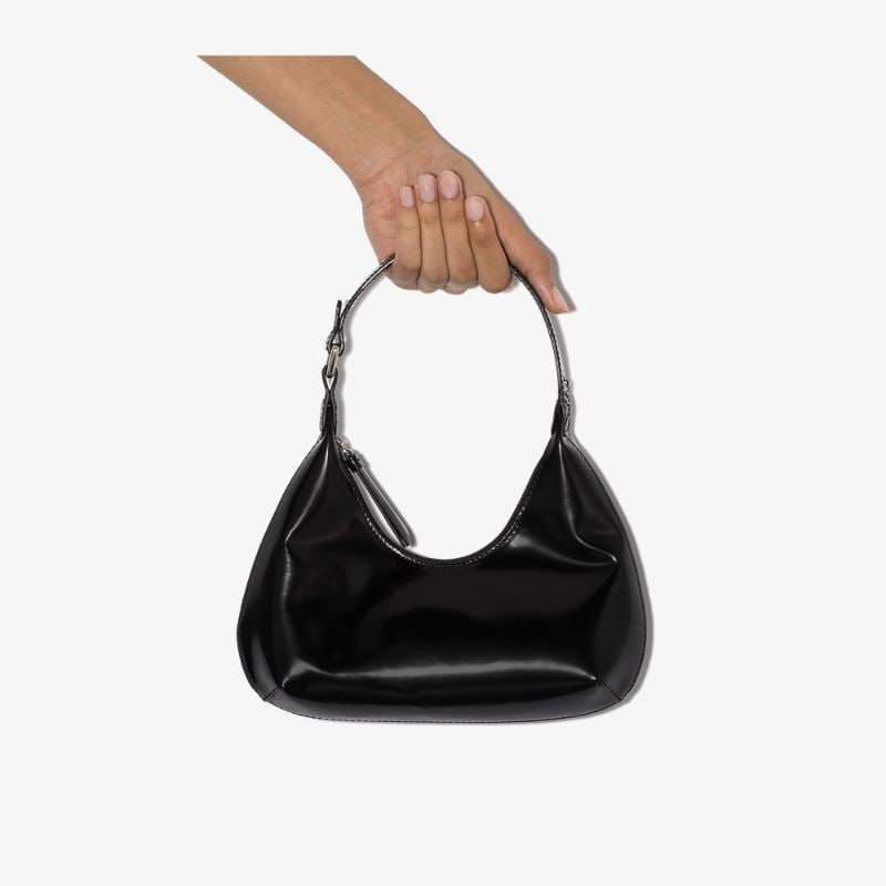 By Far Womens Black Amber Small Leather Shoulder Bag