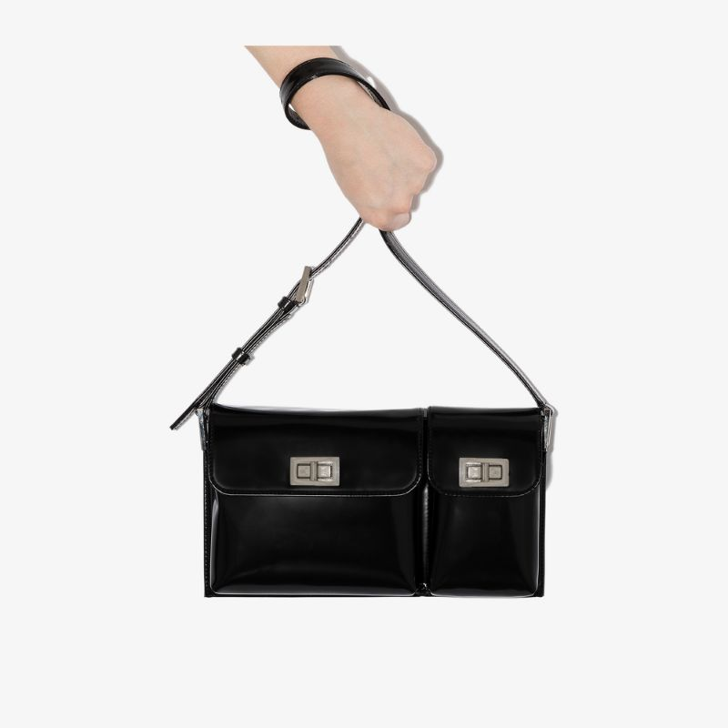 By Far Womens Black Billy Patent Leather Shoulder Bag