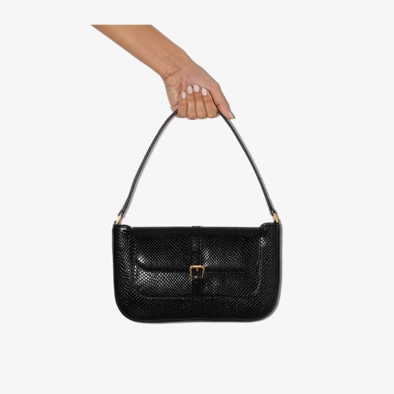 By Far Womens Black Miranda Snake-effect Leather Shoulder Bag