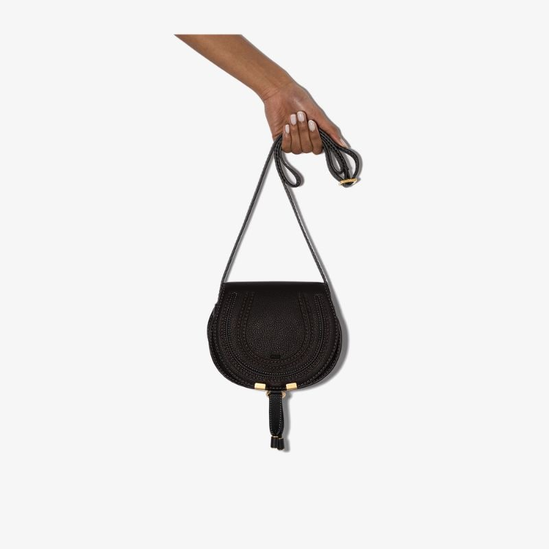 Chloé Womens Black Marcie Leather Shoulder Bag