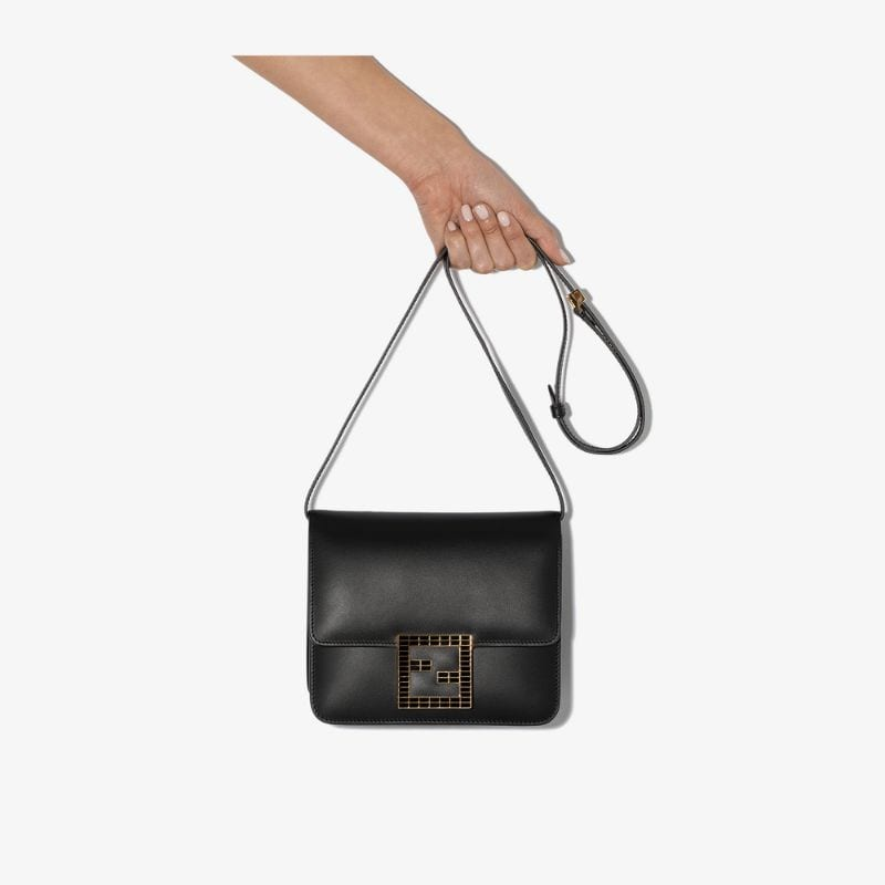 Fendi Womens Black Fab Leather Shoulder Bag
