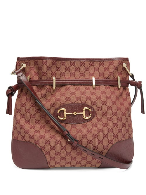 Gucci - 1955 Gg-jacquard Horsebit Shoulder Bag - Womens - Red Multi