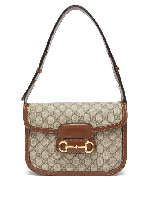 Gucci - 1955 Horsebit Gg Supreme Shoulder Bag - Womens - Brown Multi