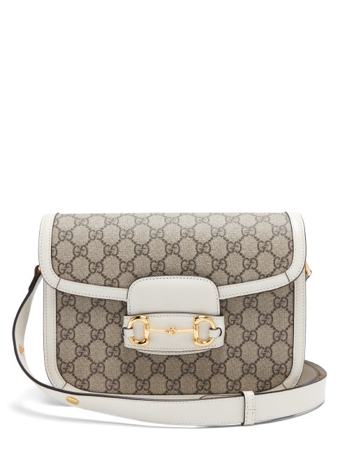 Gucci - 1955 Horsebit Gg Supreme Shoulder Bag - Womens - White Black