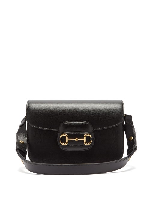 Gucci - 1955 Horsebit Grained-leather Shoulder Bag - Womens - Black
