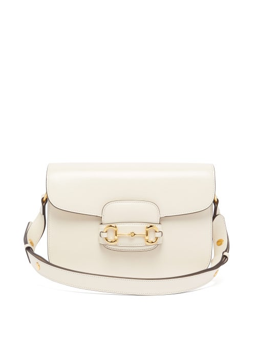 Gucci - 1955 Horsebit Leather Shoulder Bag - Womens - White