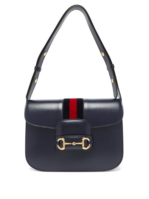 Gucci - 1955 Horsebit Saddle Leather Shoulder Bag - Womens - Blue Multi
