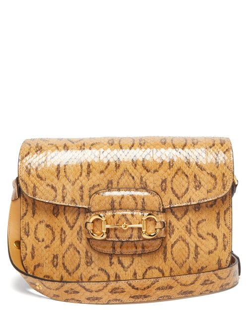 Gucci - 1955 Horsebit Watersnake Shoulder Bag - Womens - Beige