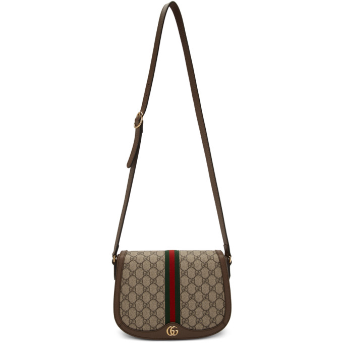 Gucci Beige and Brown Small GG Ophidia Shoulder Bag