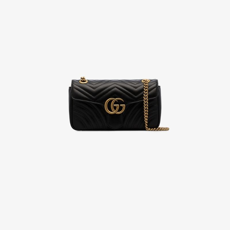 Gucci Black And Gold Womens Black Gg Marmont Small Matelassé Leather Shoulder Bag