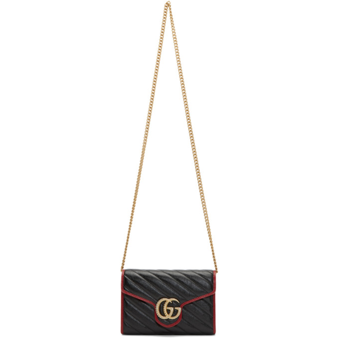 Gucci Black and Red Torchon GG Marmont Shoulder Bag