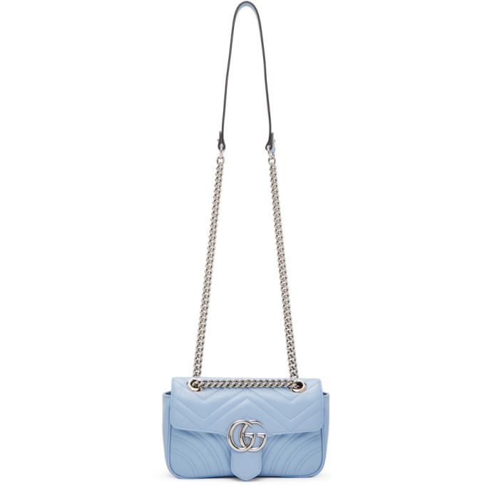Gucci Blue Mini GG Marmont 2.0 Shoulder Bag