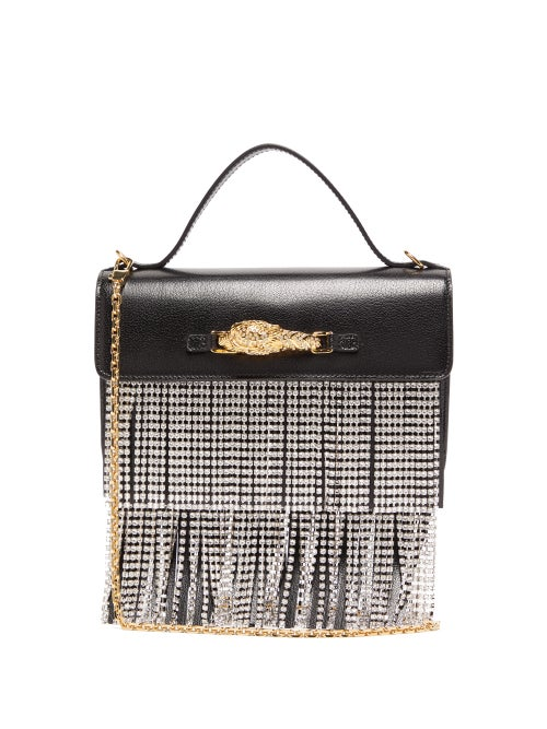Gucci - Broadway Crystal-fringe Leather Shoulder Bag - Womens - Black