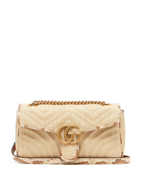 Gucci - GG Marmont Quilted Shoulder Bag - Womens - Beige Multi