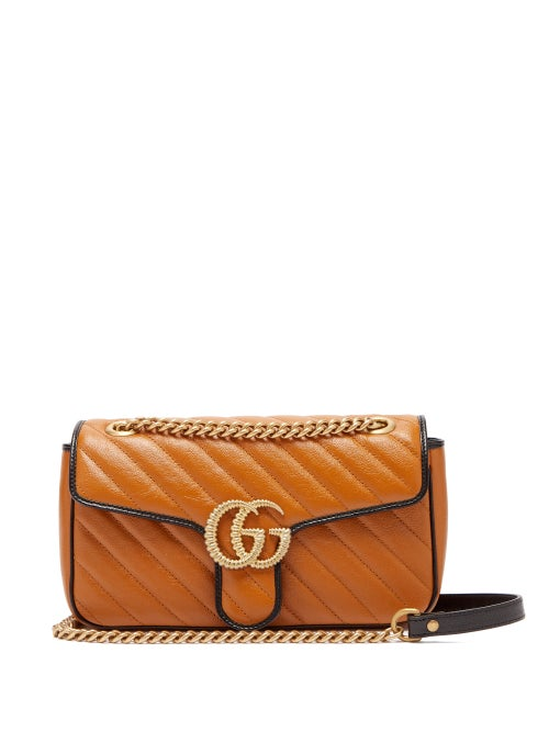 Gucci - GG Marmont Small Quilted-leather Shoulder Bag - Womens - Light Tan