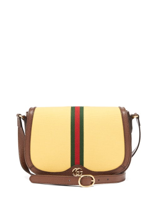 Gucci - Ophidia Leather And Canvas Shoulder Bag - Womens - Cream Multi