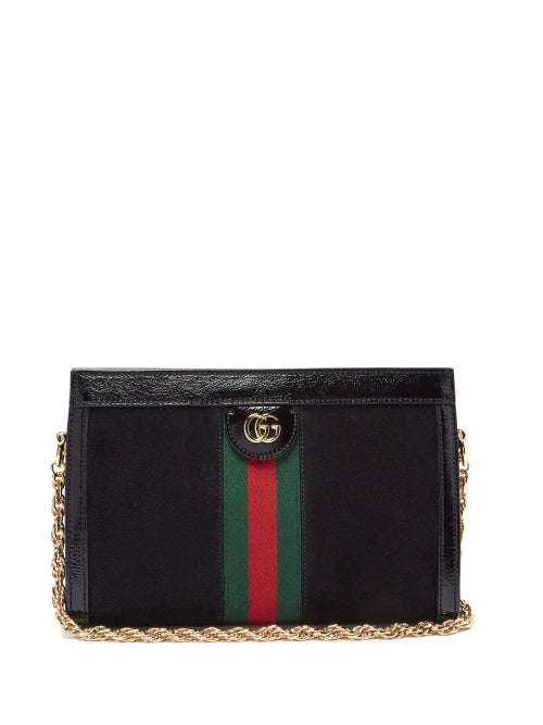Gucci - Ophidia Suede Small Shoulder Bag - Womens - Black Multi