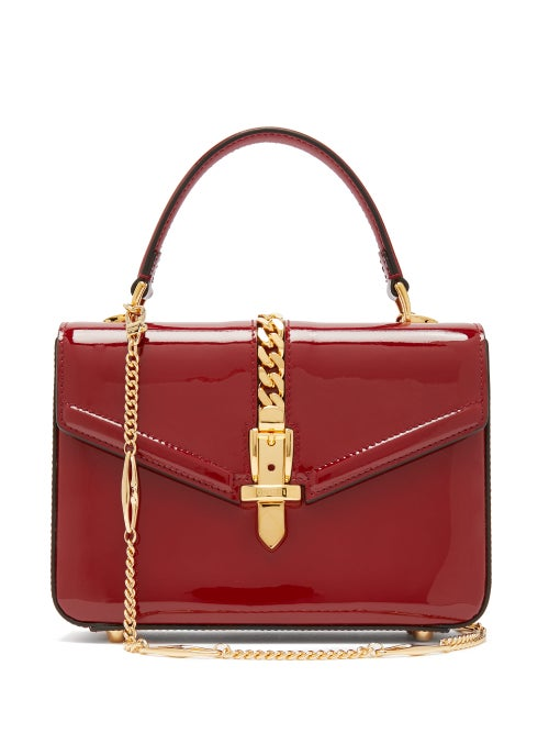 Gucci - Sylvie Small Patent-leather Shoulder Bag - Womens - Burgundy