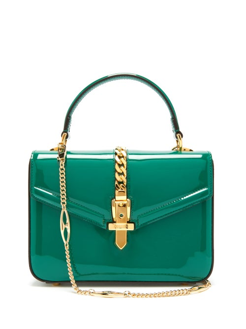 Gucci - Sylvie Small Patent-leather Shoulder Bag - Womens - Green