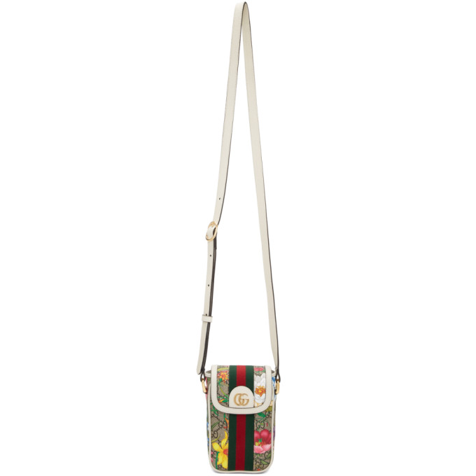 Gucci White GG Flora Ophidia Shoulder Bag