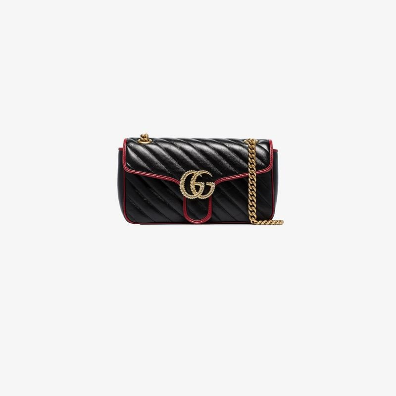 Gucci Womens Black Gg Marmont Leather Shoulder Bag