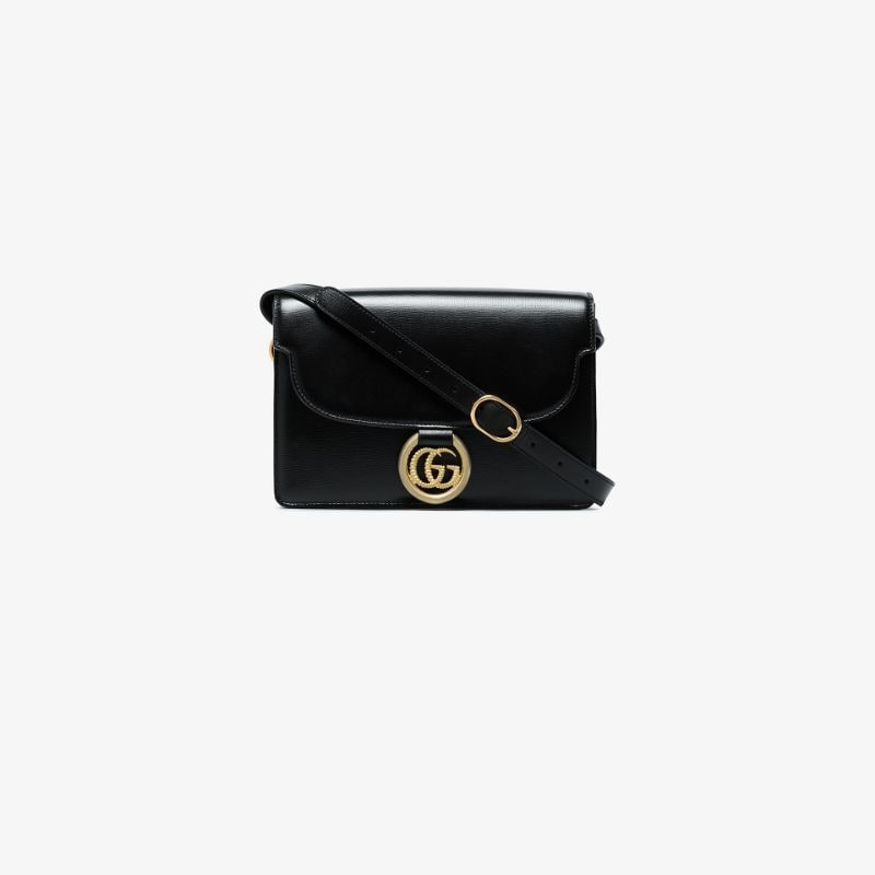 Gucci Womens Black Gg Ring Shoulder Bag