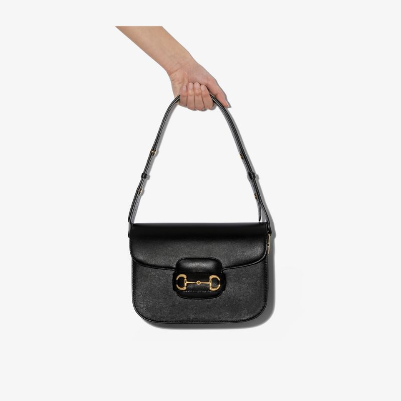 Gucci Womens Black Morsetto Leather Shoulder Bag