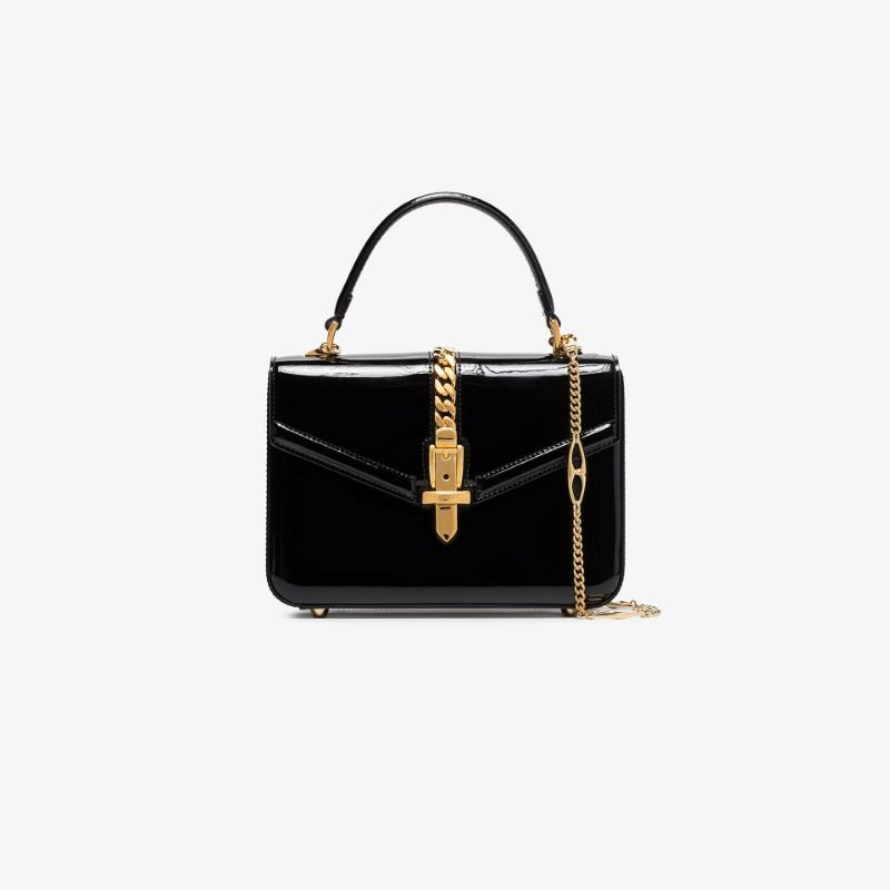 Gucci Womens Black Sylvie 1969 Patent Leather Shoulder Bag