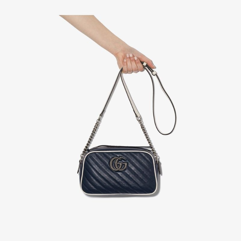 Gucci Womens Blue Gg Marmont Matelassé Shoulder Bag