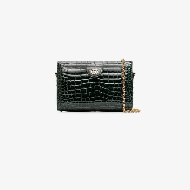 Gucci Womens Ladies Green Ophidia Small Crocodile Leather Shoulder Bag