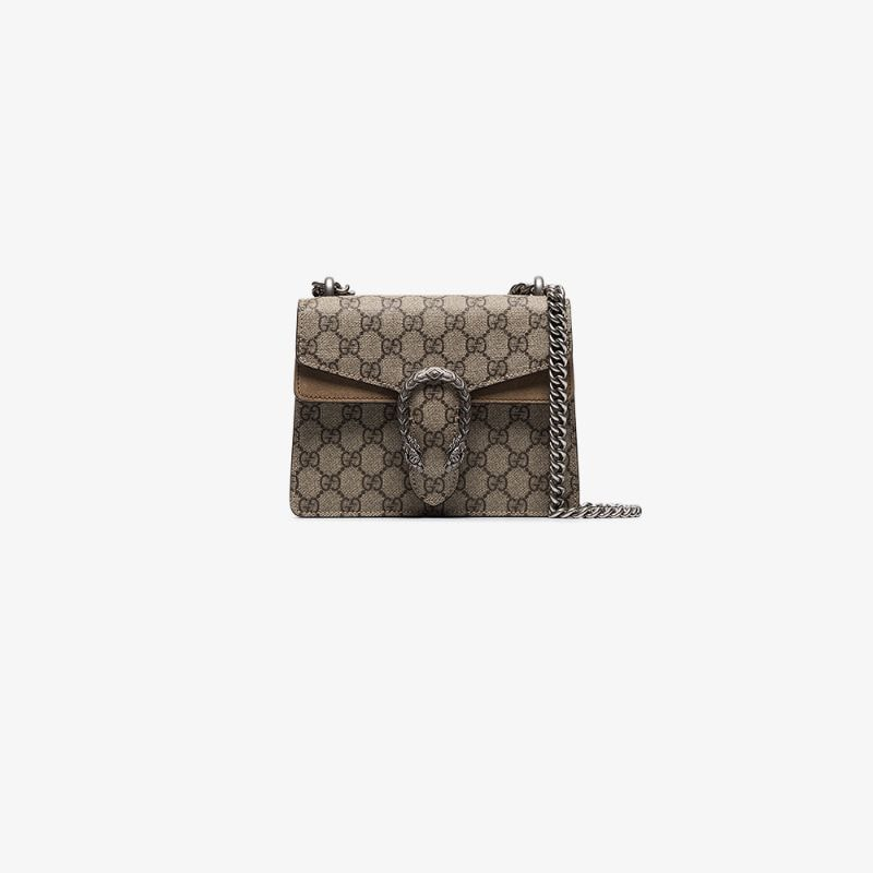 Gucci Womens Neutrals Beige And Brown Dionysus Gg Supreme Mini Canvas Shoulder Bag