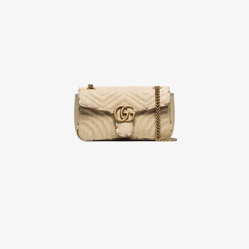 Gucci Womens Neutrals Beige Gg Marmont Small Raffia Shoulder Bag