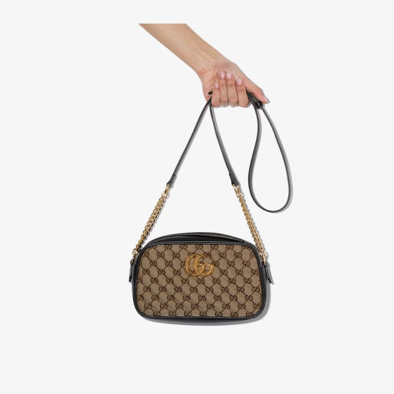 Gucci Womens Neutrals Brown Marmont Gg Supreme Leather Shoulder Bag
