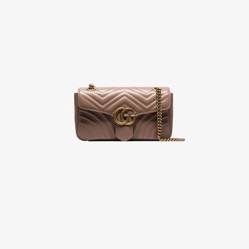 Gucci Womens Pink Beige Marmont Quilted Leather Shoulder Bag