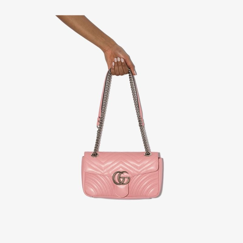 Gucci Womens Pink Marmont Small Leather Shoulder Bag
