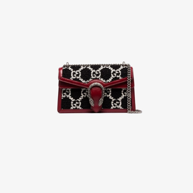 Gucci Womens Red Dionysus Gg Tweed Small Shoulder Bag