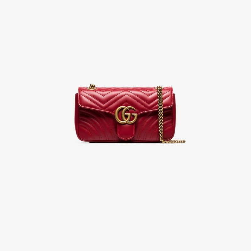 Gucci Womens Red Gg Marmont Small Leather Matelassé Shoulder Bag