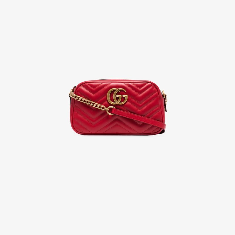 Gucci Womens Red Gg Marmont Small Matelassé Shoulder Bag