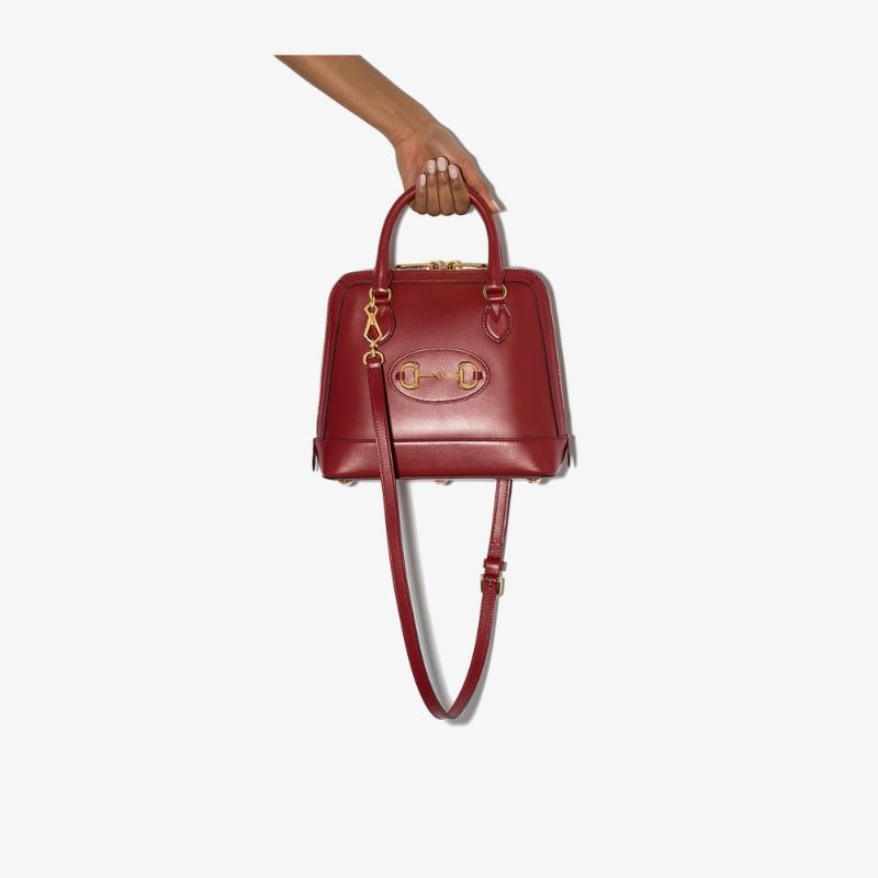 Gucci Womens Red Horsebit 1955 Leather Shoulder Bag