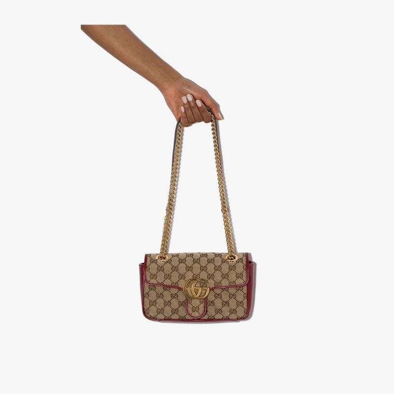 Gucci Womens Red Mini Marmont Gg Shoulder Bag
