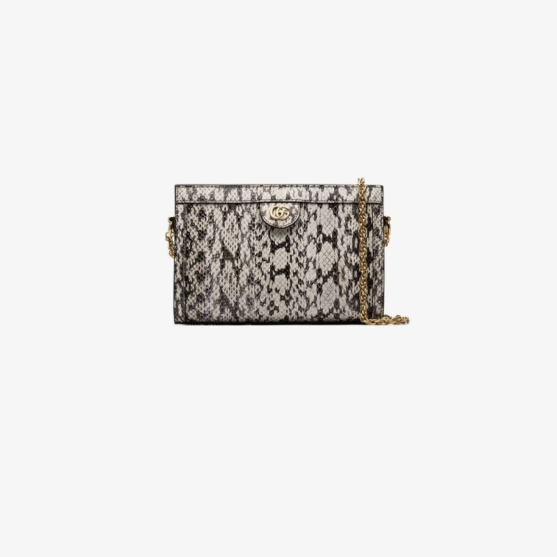 Gucci Womens White Ophidia Small Snakeskin Shoulder Bag