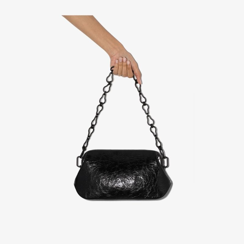 Osoi Womens Black Dutch Brot Wrinkled Leather Shoulder Bag