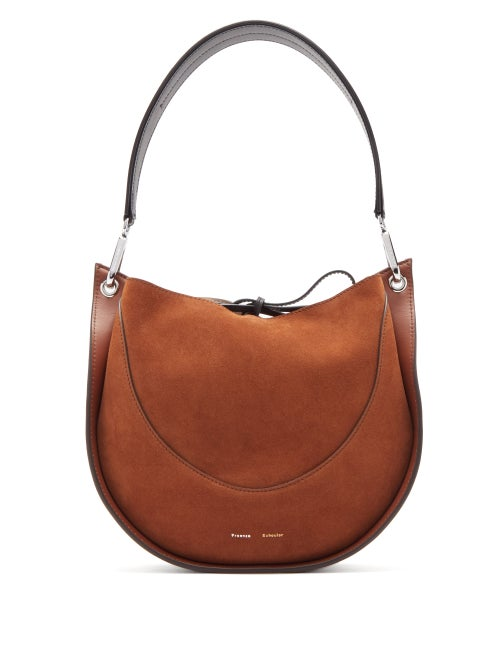 Proenza Schouler - Hobo Small Suede And Leather Shoulder Bag - Womens - Brown