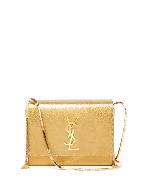 Saint Laurent - Kate Small Metallic-leather Shoulder Bag - Womens - Gold